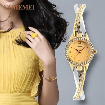 Harga YOHEMEI Fashion Elegant Top Brand Luxury Famous Quartz Watch for Women Ladies Casual Wristwatches 0193 - Gold - intl