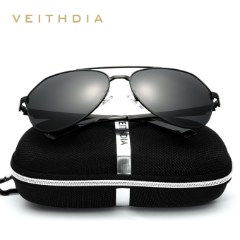 Harga VEITHDIA Brand Stainless Steel Men's Sunglasses Polarized Mirror Lens Eyewear Accessories Driving Sun Glasses For Men 3559(Black/Gray)