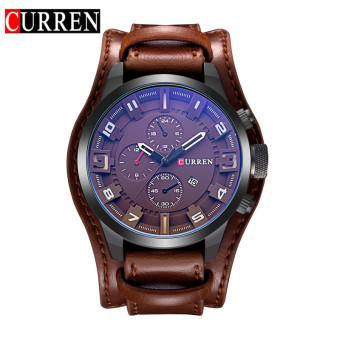 Harga [100% Genuine]CURREN 8225 Men's Round Analog Wrist Watch with Three Decorated Sub-Dial, Alloy Case & Faux Leather Band For Men - intl