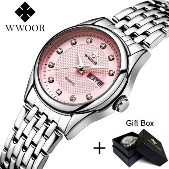 Harga Loveu Store Luxury Rhinestones WristWatch Stainless Band Waterproof Women Quartz Wrist Watch(Pink) - intl