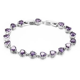 Harga ZUNCLE Italy imports of diamond diamond rhodium Bracelet (Purple)