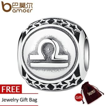 Harga Vintage 925 Sterling Silve Libra Star Sign Zodiac Beads Charms fit Bracelets DIY Twelve Constellations Accessories PSC048-9 - intl