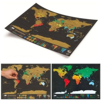 Harga Mini Deluxe Travel Edition Scratch Off World Map Personalized Journal Hot - intl