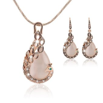 Harga Okdeals Lady Peacock Crystal Rhinestone Necklace Earring Jewelry Set