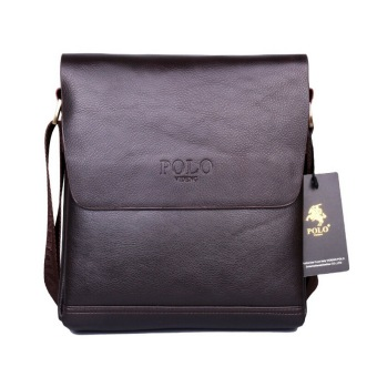 Harga POLO Brand Leather Men Bag Casual Business Leather Mens Messenger Bag, Brown - intl