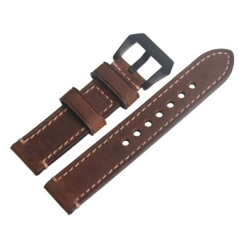 Brown Vintage Genuine Leather 20mm Replacement Watch Strap Band Black Buckle - Intl