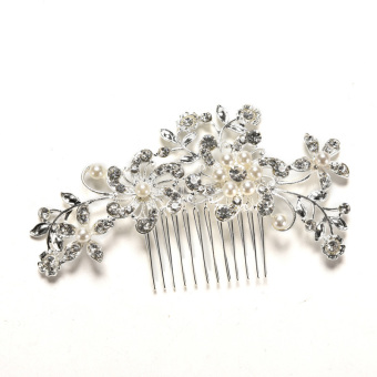 Harga Amango New Crystal Rhinestone Wedding Flower Pearls Hair Clip Hair Comb For Women Bride
