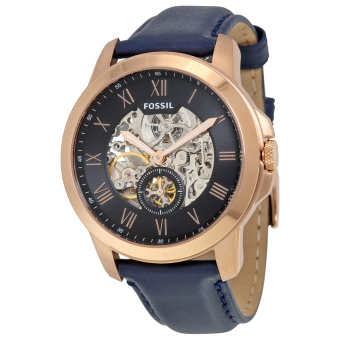 Harga Fossil Grant Automatic Skeletal Blue Leather Watch ME3054