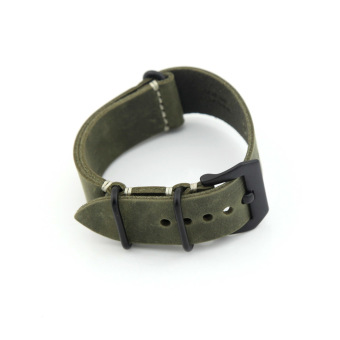 Harga Leather Replacement Watch Band Strap Belt 24mm for Man or Woman (Dark Green)