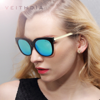 Harga VEITHDIA TR90 Women's Driving Sun glasses Polarized Mirror Lens Luxury Ladies Designer Sunglasses Eyewear For Women 8025 (black-blue)