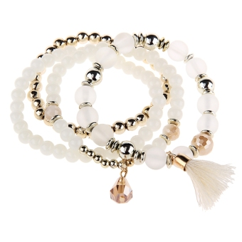 Harga 4pcs Bead Design Multi Layers Alloy Bracelets for Ladies (White)