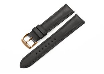 iStrap 18mm Genuine Calf Leather Watch Band Strap Rose Gold Spring Bar Buckle Replacement Clasp Super Soft Black 18