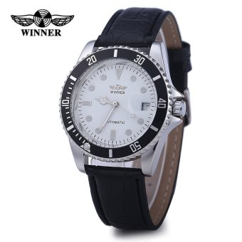 Harga Winner W098 Male Automatic Mechanical Watch Date Display Analog Leather Strap - intl