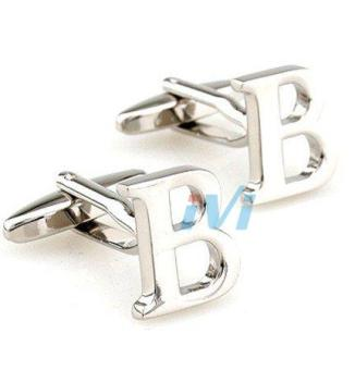 Harga Silver men's cufflinks french shirt generic name english letters logo cuff button cufflinks 26 cufflinks