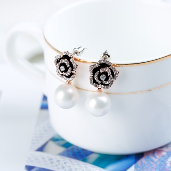 Korea Korean-style Pearl diamond flower clover earrings ear clip earrings female jewelry