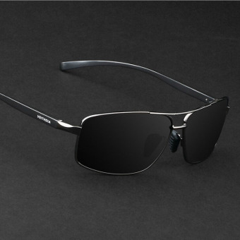 Harga VEITHDIA 2458 Polarized Sunglasses Men black frame gray lens(Export)