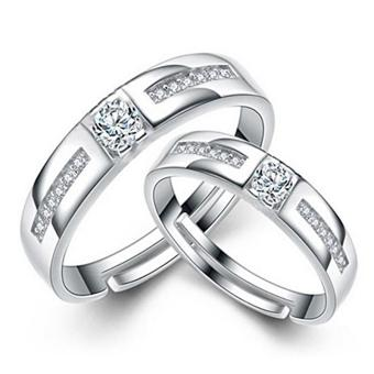 Harga Fashion Lovers Rings Silver Adjustable Couple Ring Jewelry E024 - intl
