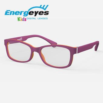 ENERGEYES KIDS Computer Glasses Protect Eyes and Cut Blue Light by 50% Kids Rectangle Purple Front and Parrot Red Back