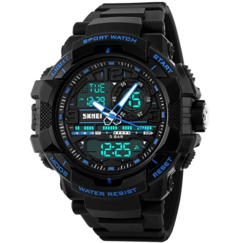 Harga 2017 Fashion Outdoor Sport Watches Man Electronic Digital Analog Silicone Watch Waterproof Wristwatch For Men - intl