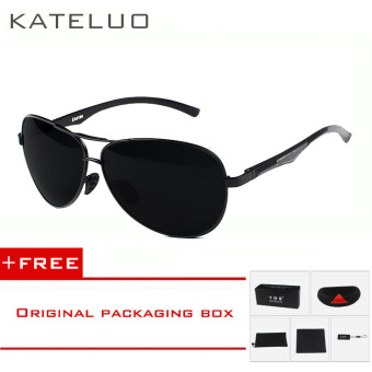Harga KATELUO Aluminum Magnesium Men's Polarized Aviator Sun glasses Oculos Male Driver Outdoor Sunglasses For Men Eyewear Accessories 7757 (Black) [ Buy 1 Get 1 Freebie ]