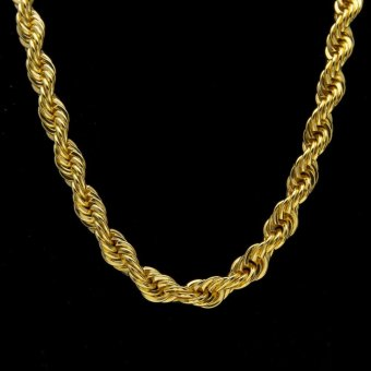 Harga Men's hip-hop gold-plated necklace 1cm thick - intl