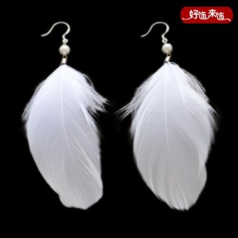 Harga Retro white bride wedding feather earrings