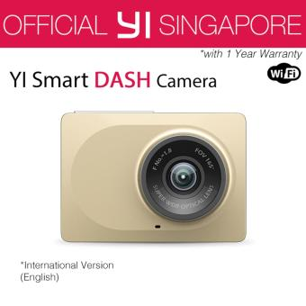 Harga [Official XiaoYi SG] English XiaoMi Xiaoyi Yi Car Dash Driving Recorder Mi Camera 2.7 Inch 165 Degree 1080P HD ADAS CCTV Security (Gold)