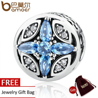 Harga BAMOER Classic 925 Sterling Silver Shopping Blue Round Beads Charms Fit Bracelets & Bangles Jewelry Accessories PAS398 - intl