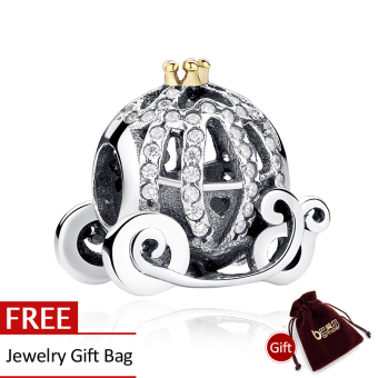 Harga New 100% 925 Sterling Silver Openwork Pumpkin Charm Fit Bracelet with 14K Gold Crown Jewelry Making PAS027 - Intl