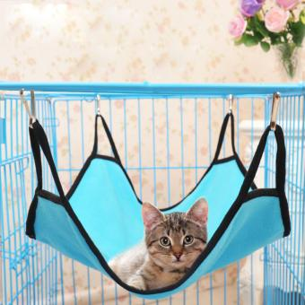 Plush Cat Cage Hammock Kitty Pet Hanging Bed - Blue - intl