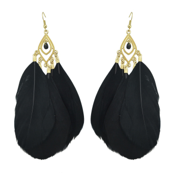 Feelontop Vintage Unique Black Feather Hot Selling Blue Color Drop Earrings