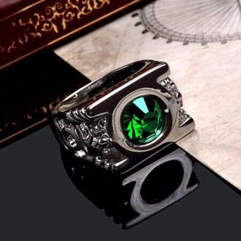 Harga Crystal Green Lantern Ring Party Ring For Men Jewelry - intl