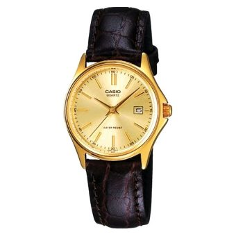 Harga Casio Ladies All Time Classic Every Day Watch LTP-1183Q-9A in Leather Strap and Gold Dial