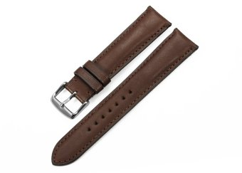 iStrap 22mm Genuine Calf Leather Watch Band Straps Steel Spring Bar Buckle Replacement Clasp Super Soft Dark Brown 22