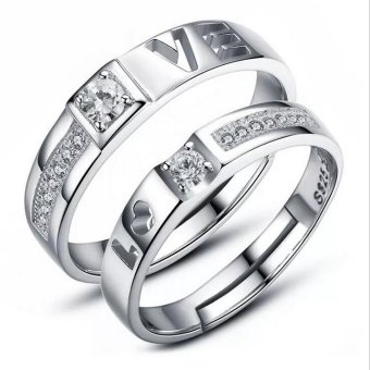 Harga Couple rings Jewellry 925 Silver Crystal Charms Lovers Band Ring adjustable jewelry 0190WH(Export)