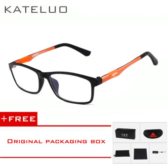 Harga KATELUO 2016 New Brand Reading Glasses Men Woman Computer UV Glasses Fatigue Radiation eyeglasses Myopia Frame Black White Bule 13022(Orange) [ Buy 1 Get 1 Freebie ]