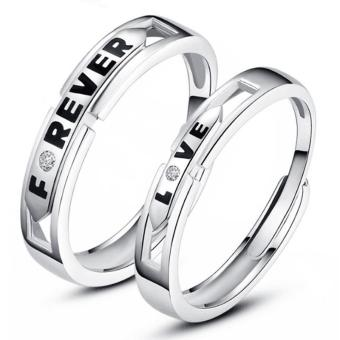 Harga Couple Rings Jewellry 925 Silver Adjustable Lovers Ring Jewelry E023 - intl