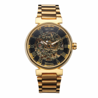 Harga WINNER Men Watch Automatic Business Analog Roman Numbers Wristwatch (Golden) - intl