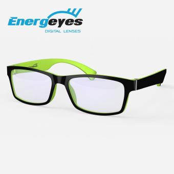 ENERGEYES Anti-Fatigue Computer Glasses Protect Eyes and Cut Blue Light by 50% Adult Rectangle Black Front and Lime Green Back