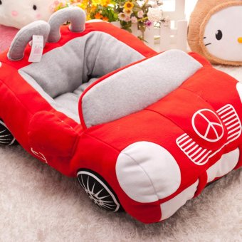 Harga 360DSC Soft Fleece Lovely Handsome Benz Car Shape Small Pet Dog Bed House - Red