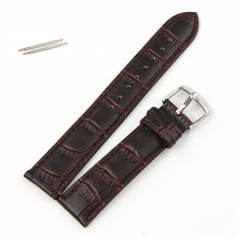 20mm Soft Genuine Leather Strap Steel Buckle Wrist Watch Band Brown