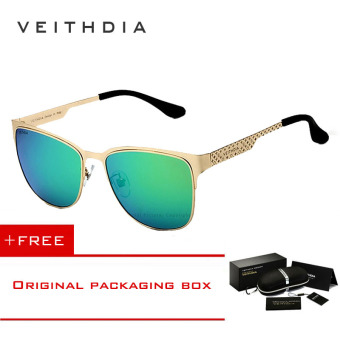 Harga VEITHDIA Stainless Steel Sun Glasses Polarized Blue Coating Mirror Driving Men's Sunglasses Male Eyewear For Men/Women 3580(Gold green ) [ Buy 1 Get 1 Freebie ]
