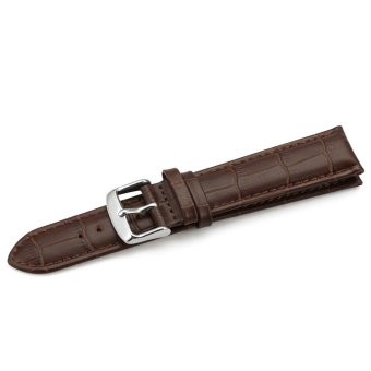 iStrap 20mm Replacement Calf Leather Strap Crocodile Grain Watch Band Accessories - Brown