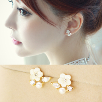 Ear clip earrings no ear pierced earrings pearl earrings Korea clip-on fake earrings shell Rose Flower jewelry female