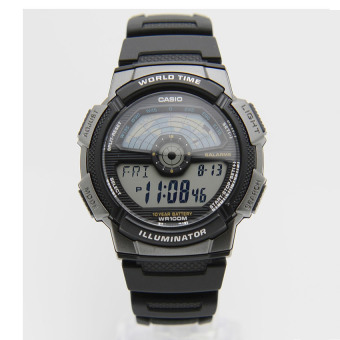 Harga Casio AE-1100W-1A World time World Map Digital Black Resin Watch