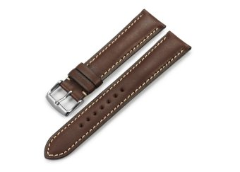iStrap 22mm Genuine CalfSkin Leather Watch Band Strap Steel Spring Bar Buckle Replacement Clasp Super Soft Dark Brown 22