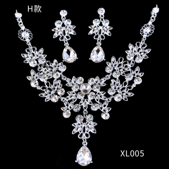 Harga Bridal headdress suit CROWN three sets of Korean wedding jewelry Wedding Accessories necklace earrings jewelry