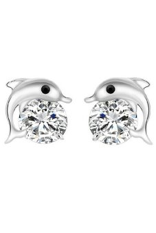 Blue Lans Rhinestone Zircon Dolphin Studs Earrings Set Of 2 (SIlver) - intl