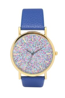 Harga Fashion World New Popular Color Plate Design Leather Strap Quartz Watch
