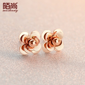 Harga Street still small fragrant wind plated 18K rose gold Camellia earrings female temperament earrings Korean-style color gold jewelry lettering gift